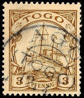 AGU 12.4 Klar Und Fast Vollständig Auf 3 Pf. Schiffszeichnung (kl.Mgl.), Gepr. Jäschke-L. BPP, Katalog: 7... - Colony: Togo