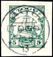 AGU 7.8 13, Ideal Klar Und Zentrisch Auf Briefstück 5 Pf. Kaiseryacht, Katalog: 21 BSAGU 7. 8 13, Perfect... - Colony: Togo