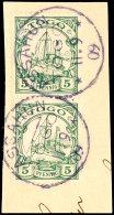 ASSAHUN 11 9 09, Je Zentrisch Klar Auf Senkrechtem Paar 5 Pf. Kaiseryacht O. Wz. Auf Briefstück, Katalog: 8(2)... - Colony: Togo