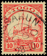 ASSAHUN 28.10 Klar Auf 10 Pfg Kaiseryacht, Katalog: 9 OASSAHUN 28. 10 Clear On 10 Pfg Imperial Yacht,... - Colony: Togo