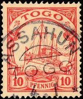 ASSAHUN 4.1, Klar Und Fast Vollständig Auf 10 Pf. Schiffszeichnung, Katalog: 9 OASSAHUN 4. 1, Clear And... - Colony: Togo
