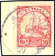 ASSAHUN TOGO 13.1.09, Klar Und Praktisch Kompletter Abschlag Auf Kabinett-Briefstück Mit 10 Pfg. Kaiseryacht... - Colony: Togo