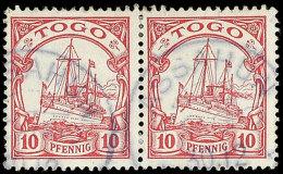 ASSAHUN TOGO 30.12, 2 Klare Teilabschläge Auf Losem Paar Der Mi.-Nr. 9 (Bugspur, Rechte Marke Oben Mit... - Colony: Togo