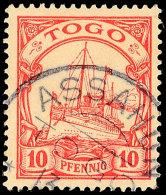 ASSAHUN, Fast Kpl. Stempelabschlag Auf 10 Pfg, Pracht, Katalog: 9 OASSAHUN, Almost Complete Print Of A Postmark... - Colony: Togo