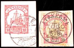 ATAKPAME 5 8 07 Und LOME 27 3 12 (Type 2) Auf Postanweisungsausschnitt 50 Pf. Bzw. Briefstück 10 Pf.... - Colony: Togo