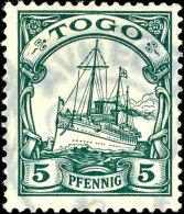 AVHEGAME 12.9.12 - Typisch Zarter Abschlag Auf 5 Pfg Kaiseryacht, Tadellos, Arge 1.500.-  OAVHEGAME 12. 9. 12 -... - Colony: Togo