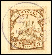 HO (TOGO) 24.2.11, Klar Und Komplett Auf Kabinett-Briefstück Mit 3 Pfg. Kaiseryacht Ohne Wasserzeichen,... - Colony: Togo