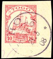 HO 21 3 08 Klar Auf Briefstück 10 Pf. Kaiseryacht Ohne Wz., Katalog: 9 BSHO 21 3 08 Clear On Piece 10 Pf.... - Colony: Togo