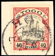 HO 25.4 Auf 40 Pfg Kaiseryacht Auf Briefstück, Gepr. Steuer BPP, Katalog: 13 BSHO 25. 4 On 40 Pfg Imperial... - Colony: Togo