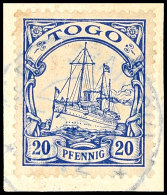 KETE-KRATSCHI 4.2, Blaugrau Zentrisch Auf Briefstück 20 Pf. Kaiseryacht, Gepr. Bothe BPP, Katalog: 10... - Colony: Togo