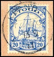 KPANDU (TOGO) 13.9.11, Klar Und Komplett Auf Kabinett-Briefstück Mit 20 Pfg. Kaiseryacht Ohne Wasserzeichen,... - Colony: Togo