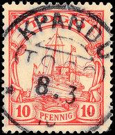 KPANDU 8.3 10, Arge Type 1, Zentrisch Auf 10 Pf. Schiffszeichnung (1 Ecke Rund), Katalog: 9 OKPANDU 8. 3 10,... - Colony: Togo