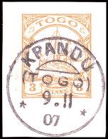 KPANDU 9 11 07, Klar Und Zentrisch Auf Briefstück 3 Pfg Kaiseryacht, Katalog: 7 BSKPANDU 9 11 07, S.O.T.N... - Colony: Togo