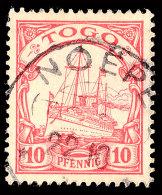 NOEPE (TOGO) 22.10..., Klarer Und Fast Zentrischer Abschlag Auf Loser Marke 10 Pfg. Kaiseryacht Ohne Wasserzeichen,... - Colony: Togo