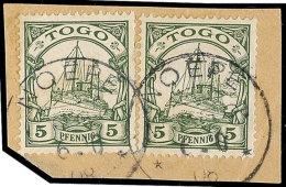 NOEPE (TOGO) 6.10.08, 2x Klar Und Fast Komplett Auf Pracht-Briefstück Mit  2x Mi.-Nr. 8, Faltspur Zwischen Den... - Colony: Togo