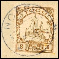 NOEPE 7.5 09, Zentrisch Auf Briefstück 3 Pf. Kaiseryacht (waager. Bug), Katalog: 7 BSNOEPE 7. 5 09,... - Colony: Togo