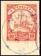 NUATJÄ 8.11 10, Klar Und Zentrisch Auf Briefstück 10 Pf. Kaiseryacht, Katalog: 9 BSNUATJÄ 8. 11... - Colony: Togo