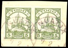 NUATJÄ TOGO 9.2...., 2x Fast Komplett Auf Kabinett-Briefstück Mit Waagerechtem Paar Der 5 Pfg... - Colony: Togo