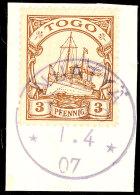 NUATYÄ 1 4 07, Klar Auf Briefstück 3 Pf. Kaiseryacht, Gepr. Dr.Steuer VÖB, Katalog: 7... - Colony: Togo