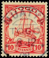 NUATYÄ 8.12.08 Klar Auf 10 Pfg Kaiseryacht, Kl. Stempelfleck Unten Links, Katalog: 9 ONUATYÄ 8. 12.... - Colony: Togo