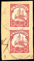 NUATYÄ TOGO 14.4.09, 2x Auf Bedarfs-Briefstück (etwas Bügig) Mit 2x 10 Pfg Kaiseryacht, Siehe Auch... - Colony: Togo