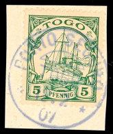 PORTO SEGURO 12.2 07, Klar Und Zentrisch Auf Briefstück 5 Pf. Schiffszeichnung, Katalog: 8 BSPostage... - Colony: Togo