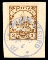 PORTO SEGURO 2? 4 07, Klar Auf Briefstück 3 Pf. Schiffszeichnung, Katalog: 7 BSPostage SEGURO 2? 4 07,... - Colony: Togo