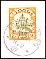 PORTO SEGURO 9 10 06 Klar Und Zentrisch Auf Briefstück 25 Pf. Schiffszeichnung, Katalog: 11 BSPostage... - Colony: Togo
