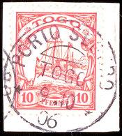 PORTO SEGURO 9 10 06 Klar Auf Briefstück 10 Pf. Schiffszeichnung, Katalog: 9 BSPostage SEGURO 9 10 06... - Colony: Togo