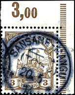 SANSANE-MANGU 20.5.14 - Klarer Abschlag Auf 3 Pfg Kaiseryacht (Eckrandstück Oben Rechts - Feld 10), Tadellos,... - Colony: Togo