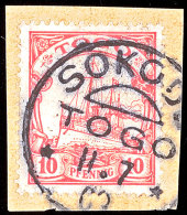 SOKODE 11 7 09, Klar Auf Briefstück 10 Pf. Schiffszeichnung, Katalog: 9 BSSOKODE 11 7 09, Clear On Piece... - Colony: Togo