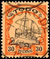 SOKODE 24.8 12 Klar Und Zentrisch Auf 30 Pf. Kaiseryacht, Katalog: 12 OSOKODE 24. 8 12 S.O.T.N On 30 Pf.... - Colony: Togo