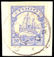 SOKODE 29 4 13, Zentrisch Auf Briefstück 20 Pf. Schiffszeichnung, Katalog: 10 BSSOKODE 29 4 13, Centric On... - Colony: Togo