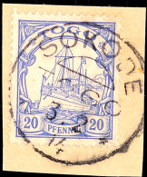 SOKODE 3 2 14 Zentrisch Auf Briefstück 20 Pf. Kaiseryacht, Katalog: 10 BSSOKODE 3 2 14 Centric On Piece 20... - Colony: Togo