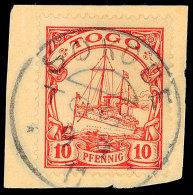 SOKODE 9.9 11, Zentrisch Klar Auf Briefstück 10 Pf. Schiffszeichnung, Katalog: 9 BSSOKODE 9. 9 11, Centric... - Colony: Togo