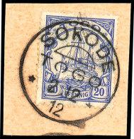 SOKODE TOGO  2.12.12, Glasklar Und Komplett Auf Kabinett-Postanweisungs-Briefstück Mit 20 Pfg Kaiseryacht!,... - Colony: Togo