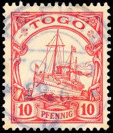 TSEWIE 29.6.12 Zentrisch Und Klar Auf 10 Pfg Kaiseryacht, Leichte Altersspuren, Katalog: 9 OTSEWIE 29. 6. 12... - Colony: Togo