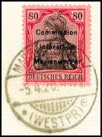 80 Pfg Germania Mit Dreizeiligem Bdr.-Aufdruck, Tadellos Gestempelt Auf Briefstück, Gepr. Klein BPP, Mi.... - Germany