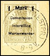 1 Mark Auf 2 Pfg Germania, Aufdruck In Type AIH, Tadellos Gestempelt Auf Briefstück, Gepr. Klein BPP, Mi.... - Germany