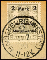 2 Mark Auf 2 1/2 Pfg Germania, Aufdruck In Type AIbBI, Tadellos Gestempelt Auf Briefstück, Gepr. Klein BPP,... - Germany