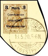 3 Mark Auf 3 Pfg Germania, Aufdruck In Type BIb, Tadellos Gestempelt Auf Briefstück, Gepr. Klein BPP, Mi.... - Germany