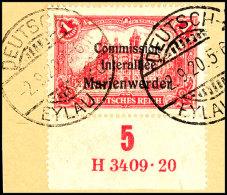 """1 Mark Deutsches >Reich Mit Dreizeiligem Bdr.-Aufdruck """"Marienwerder"""", Unterrandstück Mit Ur-HAN """"H 3409.20"""",... - Germany"""
