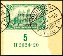 """1,25 Mark Deutsches Reich Mit Dreizeiligem Bdr.-Aufdruck """"Marienwerder"""", Unterrandstück Mit Ur-HAN """"H... - Germany"""