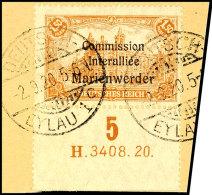 """1,50 Mark Deutsches Reich Mit Dreizeiligem Bdr.-Aufdruck """"Marienwerder"""", Unterrandstück Mit Ur-HAN """"H... - Germany"""