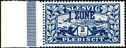 """2 Kronen Freimarke, Mit Blauem Aufdruck """"1. ZONE"""", Seitenrand-Marke, Ungefaltet, Tadellos Postfrisch, Gepr. Gruber... - Germany"""