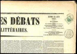 """ZEITUNGSSTEMPELMARKEN: 1857, 2 Kr. In Type II Auf Der Kompletten Zeitung """"JOURNAL DES DÉBATS"""" Aus Paris, Mit... - Austria"""