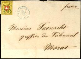 """1850, 10 Rp. Rayon II, Sauber Entwertet Mit Blauem """"PD"""" Und Mit Nebengesetztem, Blauen, Klaren K2 """"FRIBOURG -... - Switzerland"""