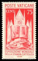 50 C. Weltausstellung 1936, Tadellos Ungebraucht, Mi. Für ** 150.-, Katalog: 55 *50 C. World Exhibition... - Vatican