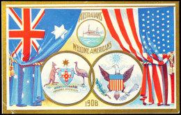 1908, Willkommensganzsache 1 P. Rot Mit Color Ansicht Zur Begrüßung Der Amerk. Flotte, Ungebraucht,... - Australia