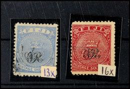 1 P. Ultramarin U. 6 . Rosa, Normales Papier, Tadellos, Gestempelt, Katalog: 13x,16x O1 P. Ultramarine And 6 .... - Fiji (...-1970)